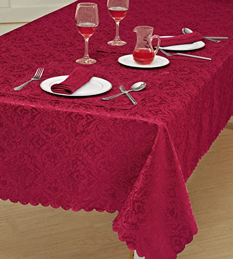 TOP QUALITY JACQUARD DAMASK TABLECLOTHS,RUNNER,NIPKIN,ALL COLOURS,SIZES U0026  SHAPES