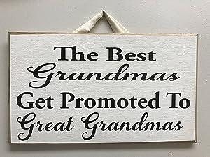 123RoyWarner Best Grandmas Get Promoted to Great Grandmas Sign Wood Christmas Birthday Announce Pregnant