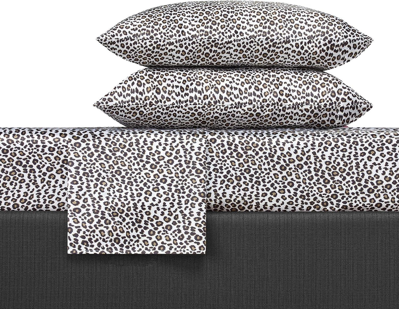 Betsey Johnson Betseys Leopard Satin Sheet Set, Queen, Charcoal