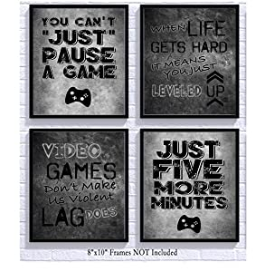 Video Game Themed Art Print Room Wall Decoration (Set or Four) Gamer (Black)