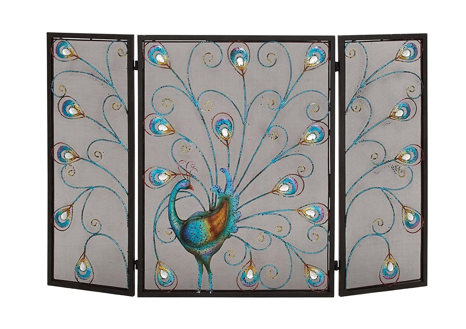 Amazon.com: Benzara The Colorful Metal Fireplace Screen: Home & Kitchen