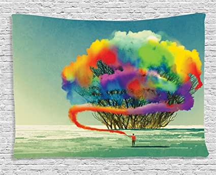 Strange Ambesonne Fantasy Art House Decor Tapestry By Psychedelic Man Draws Abstract Tree With Colored Smoke Flare Be Creative Wall Hanging For Bedroom Download Free Architecture Designs Embacsunscenecom