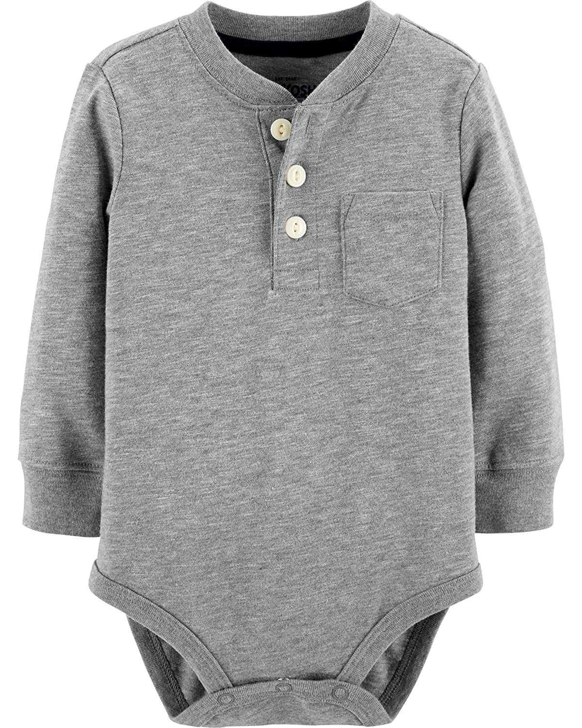 e66d493bdd5c Amazon.com  OshKosh B Gosh Baby Boys  Pocket Henley Bodysuits  Clothing