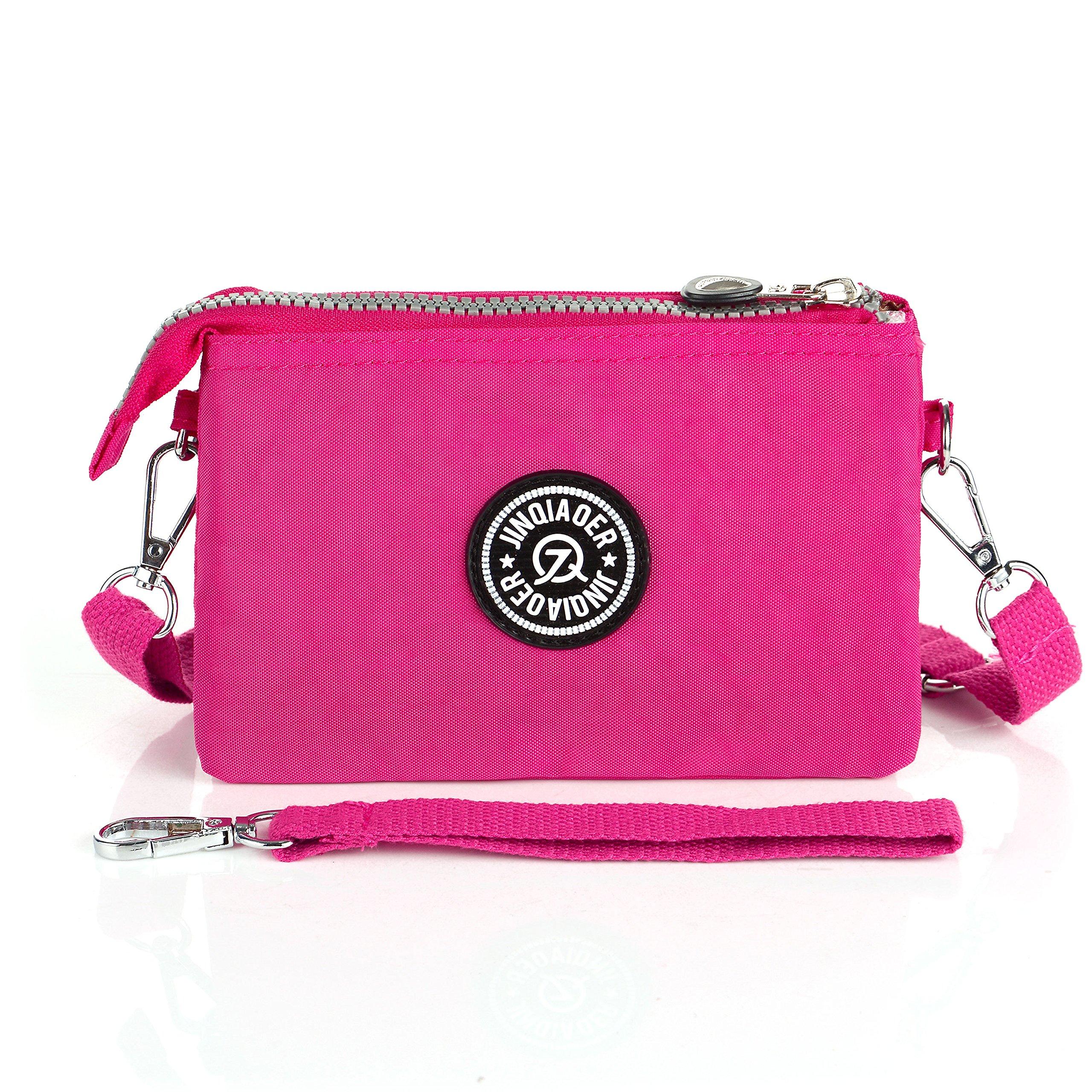 Ladies Wrist Handbag Wristlet Shoulder Bag Girls Water Resistant Nylon Multipurpose Phone Purse 3 Layers 2 Way(Rose Red)