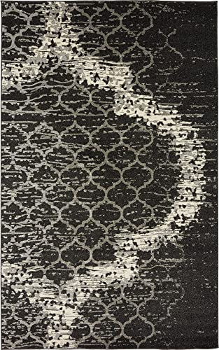 Unique Loom Trellis Collection Geometric Modern Charcoal Gray Area Rug 5 0 x 8 0