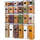 Airtight Food Storage Containers with Lids, Vtopmart 24 pcs Plastic Kitchen and Pantry Organization Canisters for Cereal, Dry