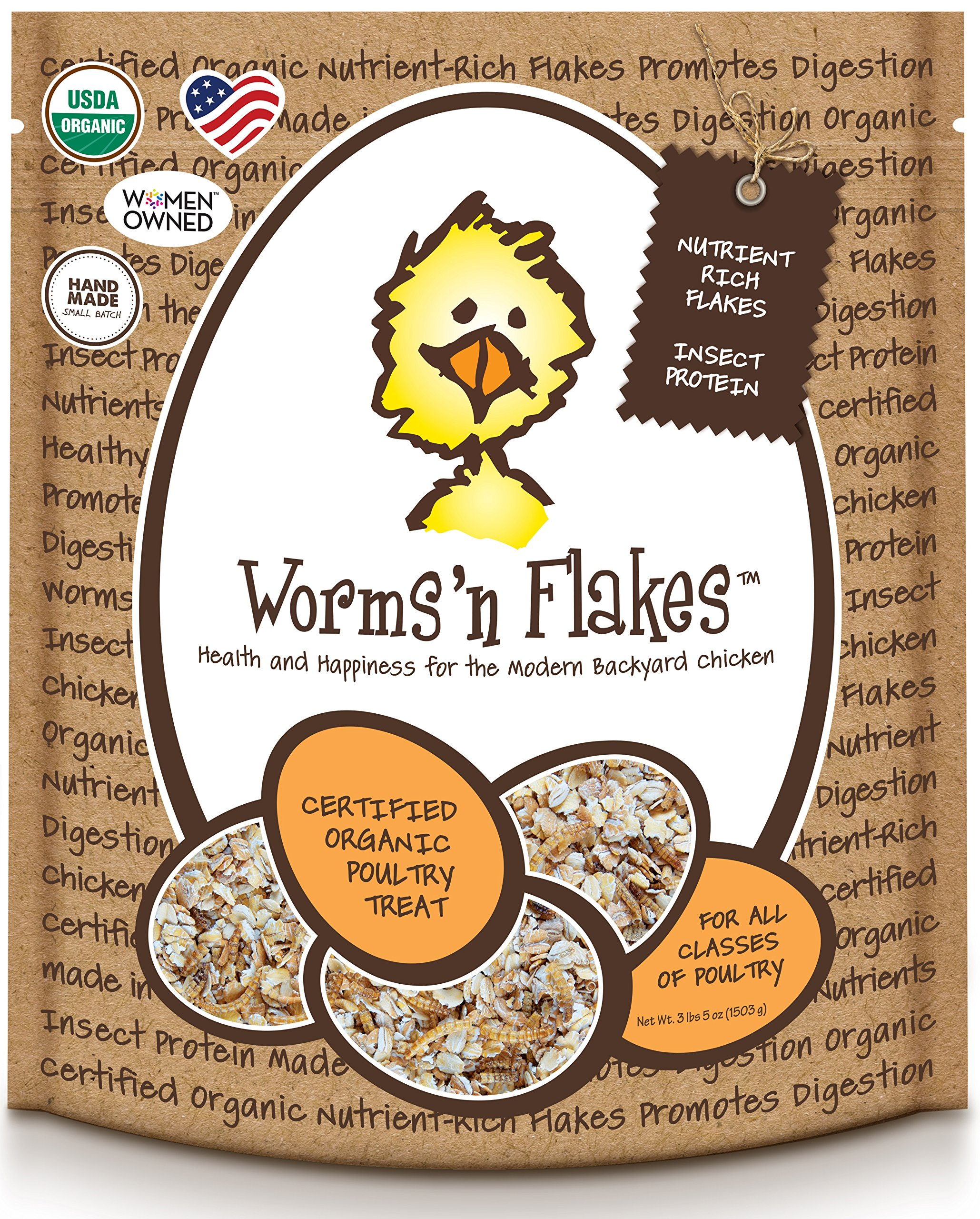 Treats For Chickens Certified Organic Worms N Flakes Treat, 3-Pound, 5 Oz by Treats For Chickens