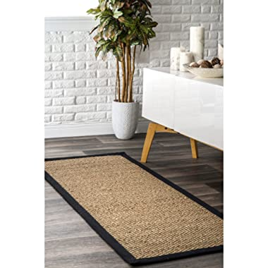 nuLOOM Elijah Seagrass Natural Runner Rug, 2' 6  x 10', Black