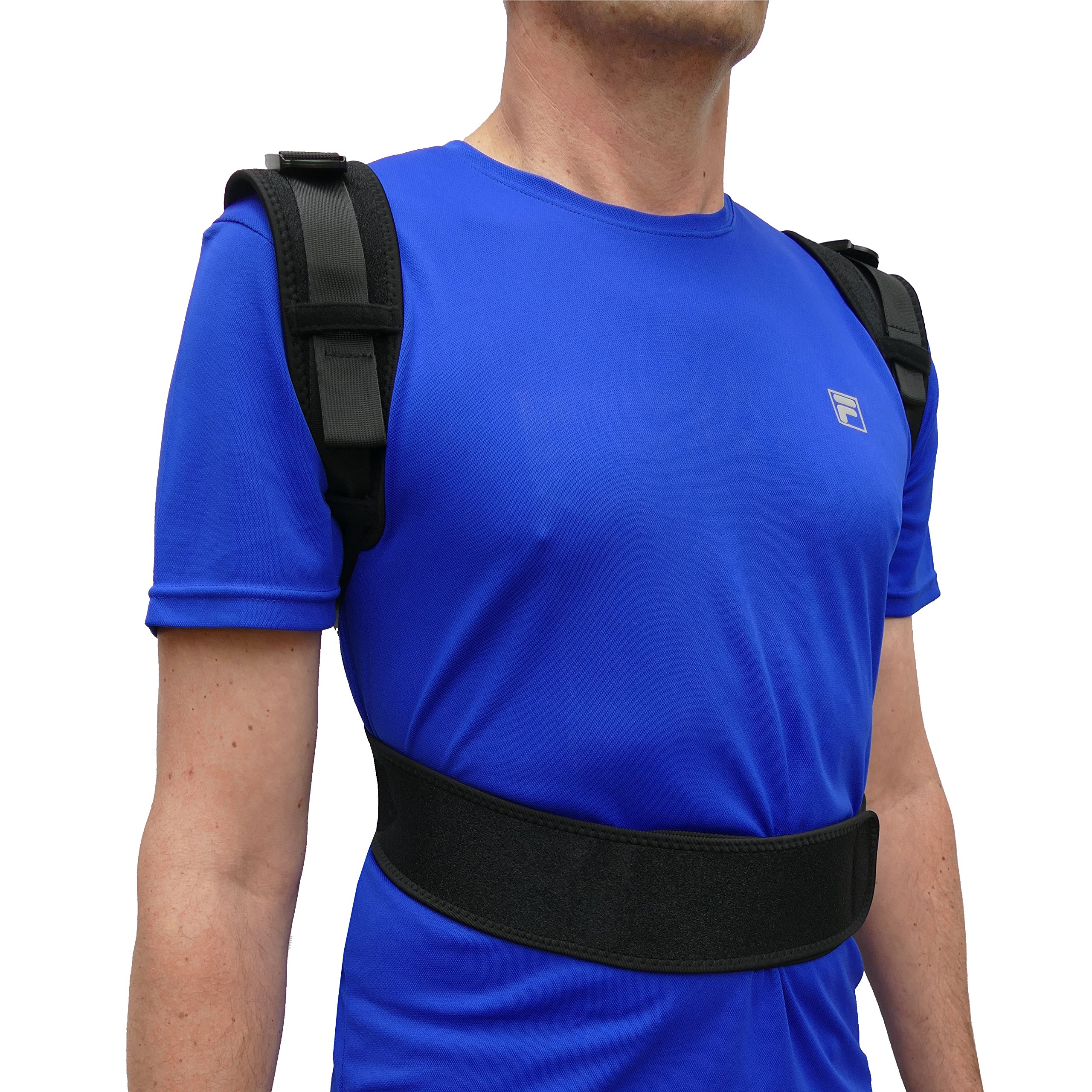 """ComfyMed® Posture Corrector Clavicle Support Brace CM-PB16 Medical Device to Improve Bad Posture, Thoracic Kyphosis, Shoulder Alignment, Upper Back Pain Relief for Men and Women (LGE (41""""-47"""" Chest))"""