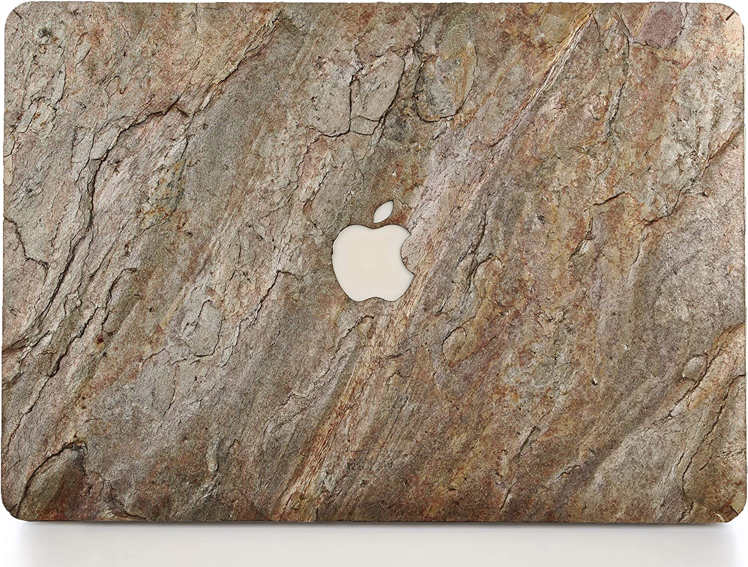 WOODWE Real Stone MacBook Skin for Mac Pro 15 inch Retina Display | Model: A1398; Mid 2012 – Mid 2015 | Natural Burning Forest Stone | TOP&Bottom