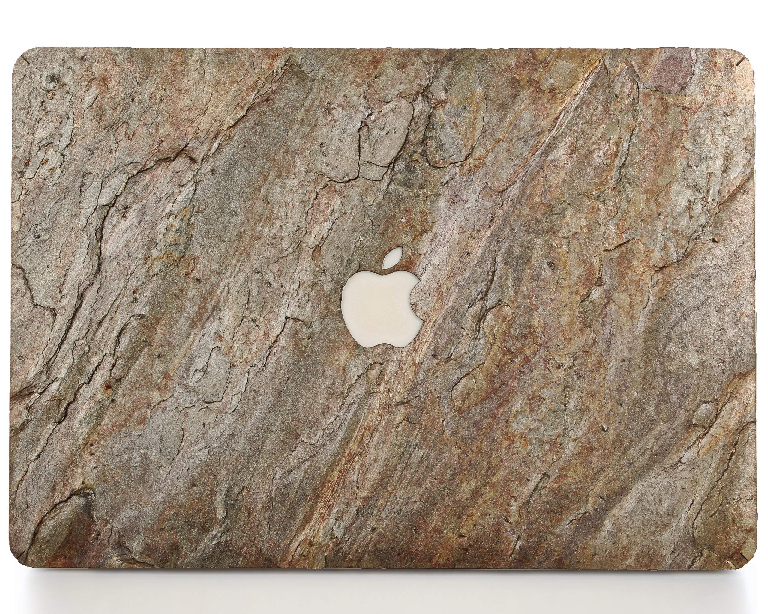 WOODWE Real Stone MacBook Skin for Mac Pro 13 inch Retina Display | Model: A1425/A1502; Late 2012 - Early 2015 | Natural Burning Forest Stone | TOP&Bottom