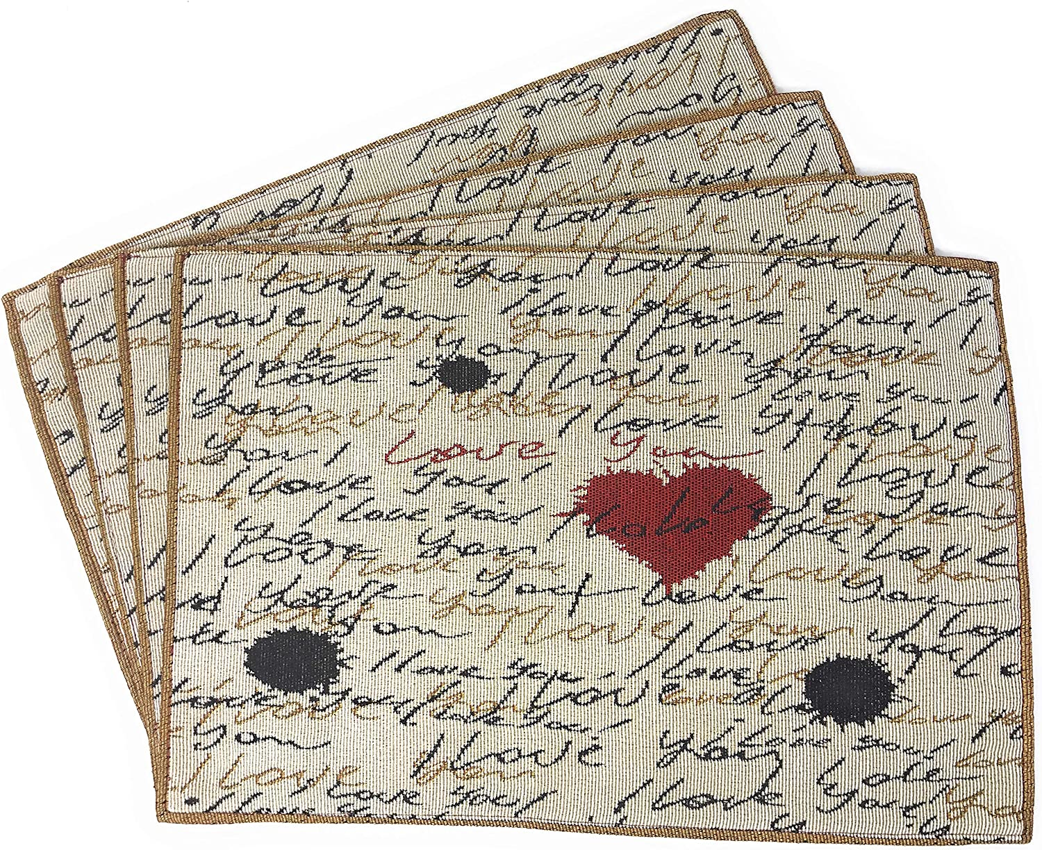 Tache Romantic Cursive Handwritten I Love You Valentine Hearts Beige Placemat - Vintage Farmhouse Woven Tapestry Kitchen Dining Dinner Mat Table Linen Napery Place Mat - Set of 4
