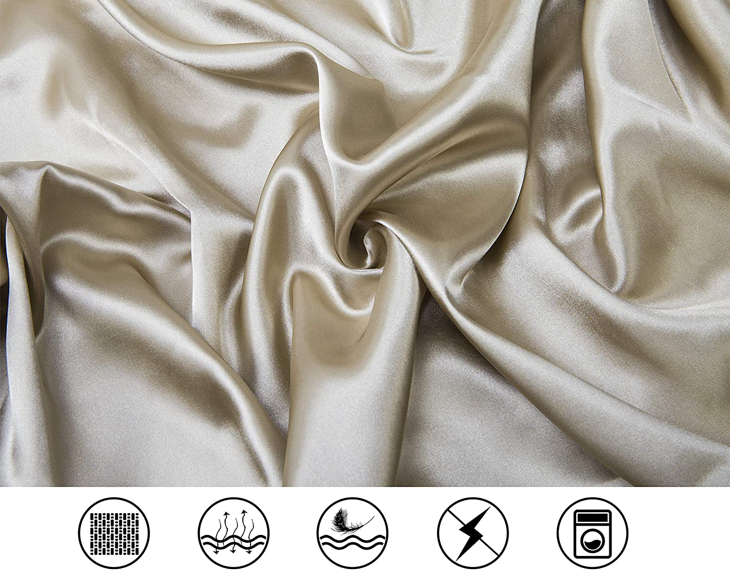 Lanest Housing Silk Satin Sheets, 4-Piece Queen Size Satin Bed Sheet Set with Deep Pockets, Cooling and Soft Hypoallergenic Satin Sheets Queen - Taupe: Home & Kitchen