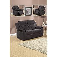 Grey / Black Reclining Fabric Material 3 Seater Sofa 2 Seater Sofa Recliner Armchair Suite DORSET