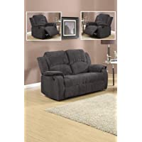 Grey / Black Reclining Fabric Material 3 Seater Sofa 2 Seater Sofa Recliner Armchair Suite DORSET