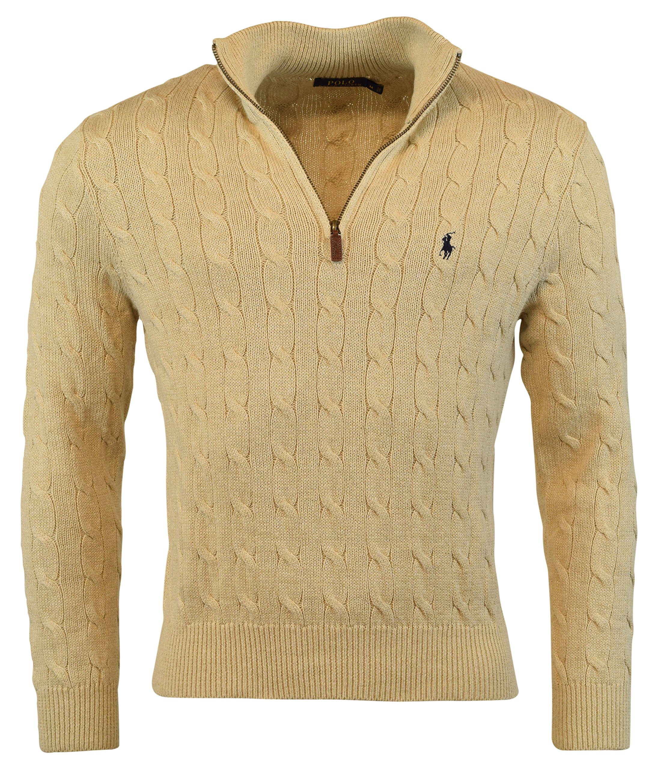 Polo Ralph Lauren Men's Cable-Knit Mock Neck Sweater, M, Oatmeal Heather by Polo Ralph Lauren