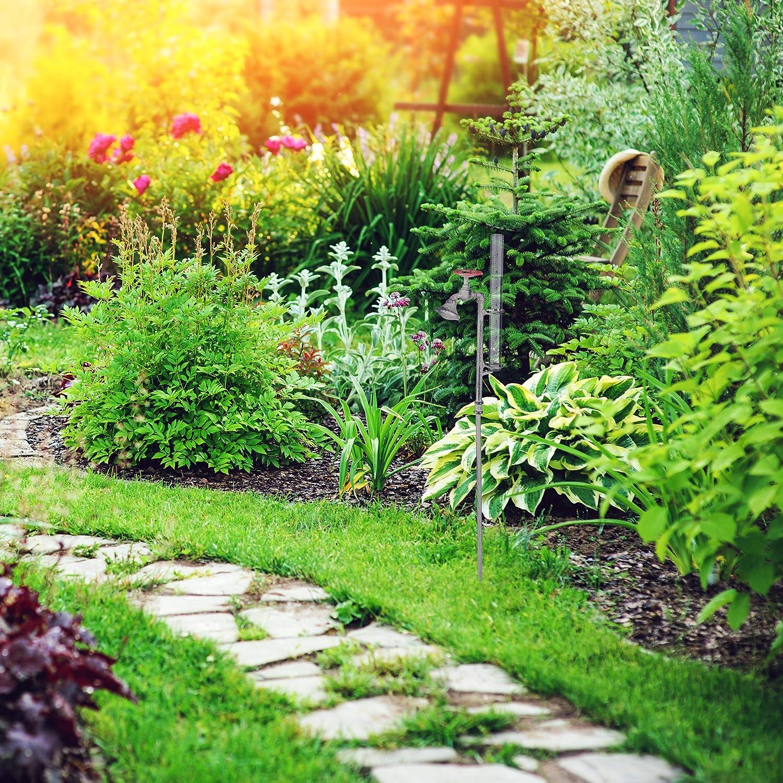 Relaxdays Pluviómetro con Grifo, Decoración de jardín, Rústico, 17 cm, 7 Pulgadas, Cristal, Metal, Gris: Amazon.es: Jardín