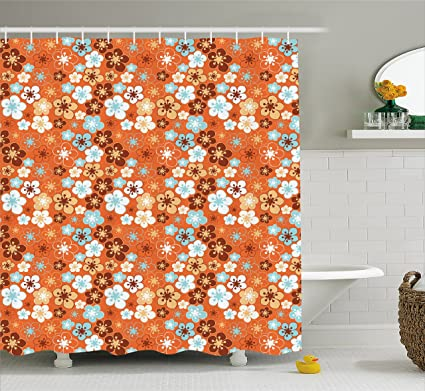 Ambesonne Orange Shower Curtain Cute Old Fashioned Doodle Flora Abstract Blooming Meadow In Summer Theme