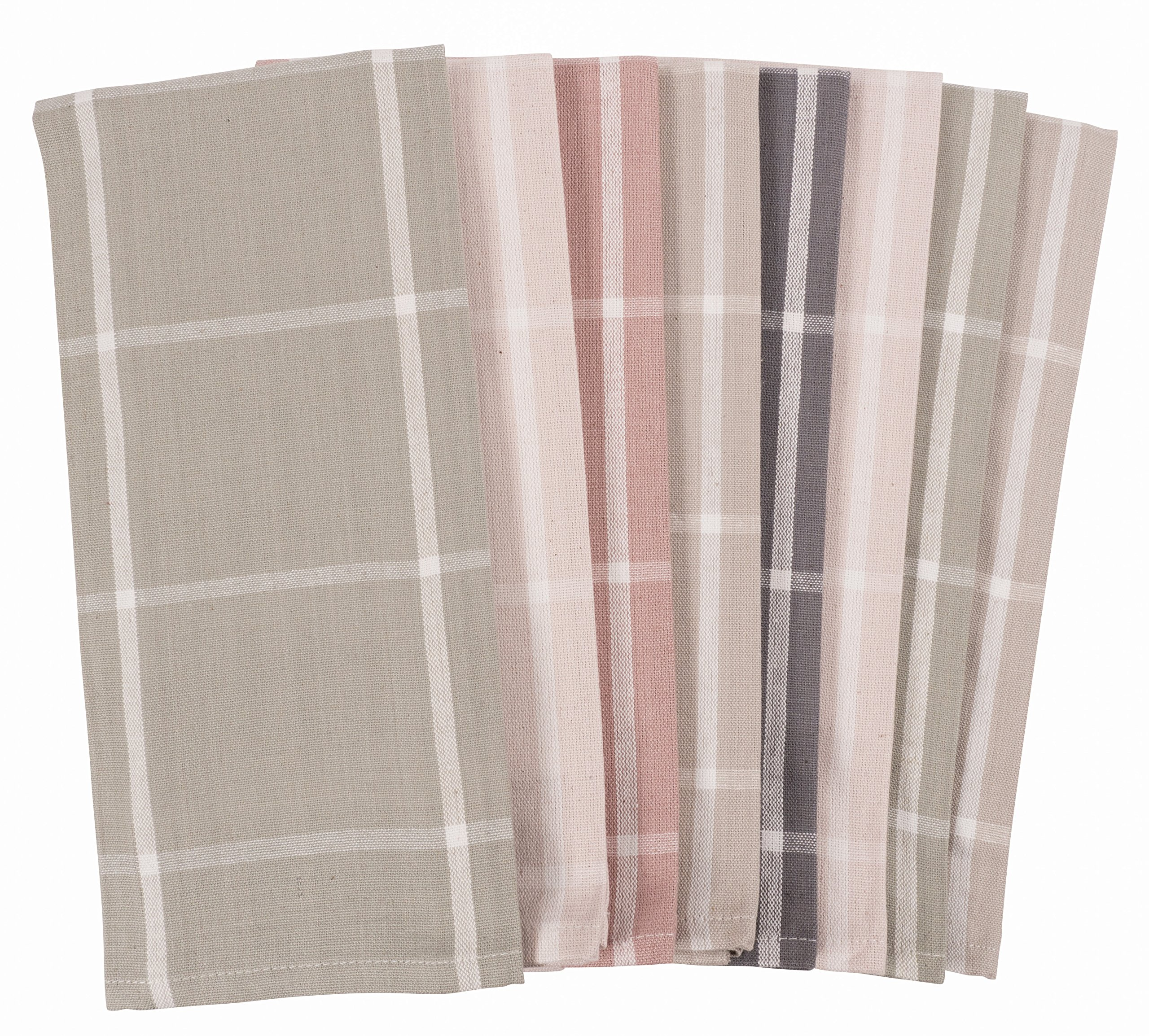 KAF Home Striped Kitchen Towels | Set of 8, 100% Pure Cotton, 16'' x 26'' Kitchen Towels | Absorbent, Soft, Fun, and Beautiful Kitchen Towels | Perfect Splash of Fashion in Any Kitchen (Neutrals)