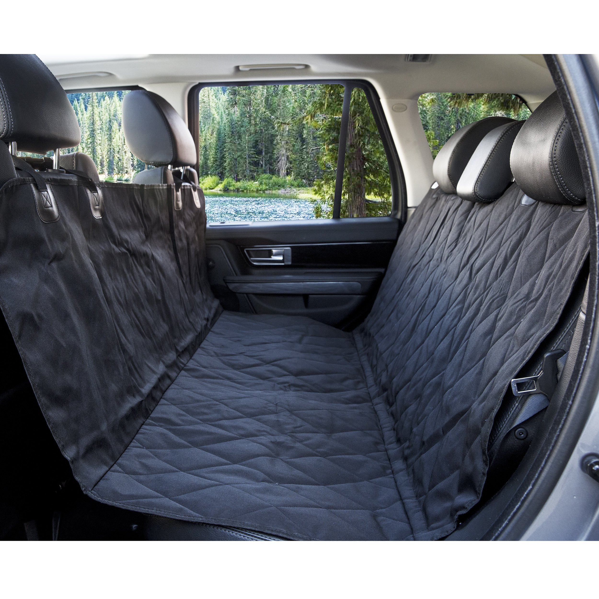 BarksBar Pet Car Seat Cover with Seat Anchors for Cars, Trucks and SUV's, Water Proof and Non-Slip Backing Regular, Black by BarksBar (Image #4)