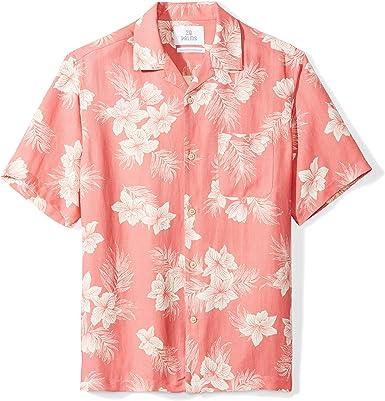 Marca Amazon - 28 Palms – Camisa de seda y lino de corte holgado para hombre, diseño tropical hawaiano: Amazon.es: Ropa y accesorios