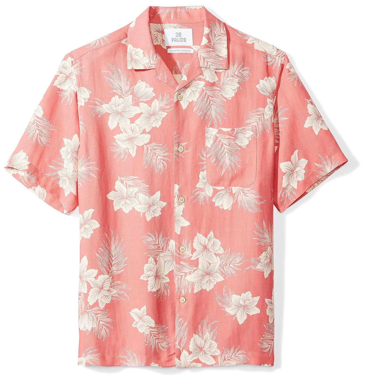28 Palms Mens Relaxed-Fit Silk//Linen Tropical Hawaiian Shirt