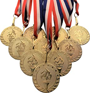 10 Pack of 2 inch Diameter Die-Stamped Gold Color Solid Metal Victory Torch Champion Medals and Red White and Blue Neck Ribbons.