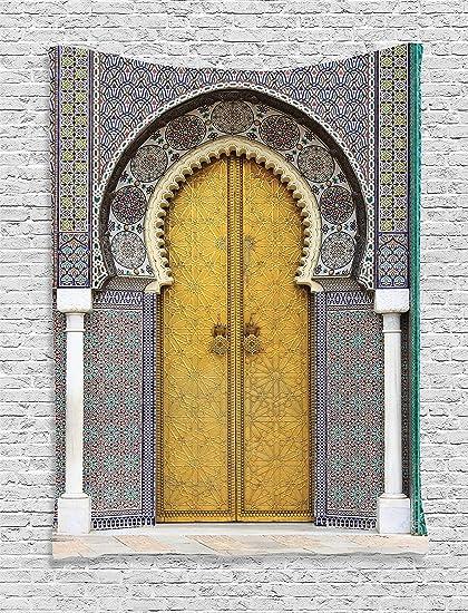 Amazon.com: Ambesonne Arabian Decor Collection, Golden Door of Royal ...