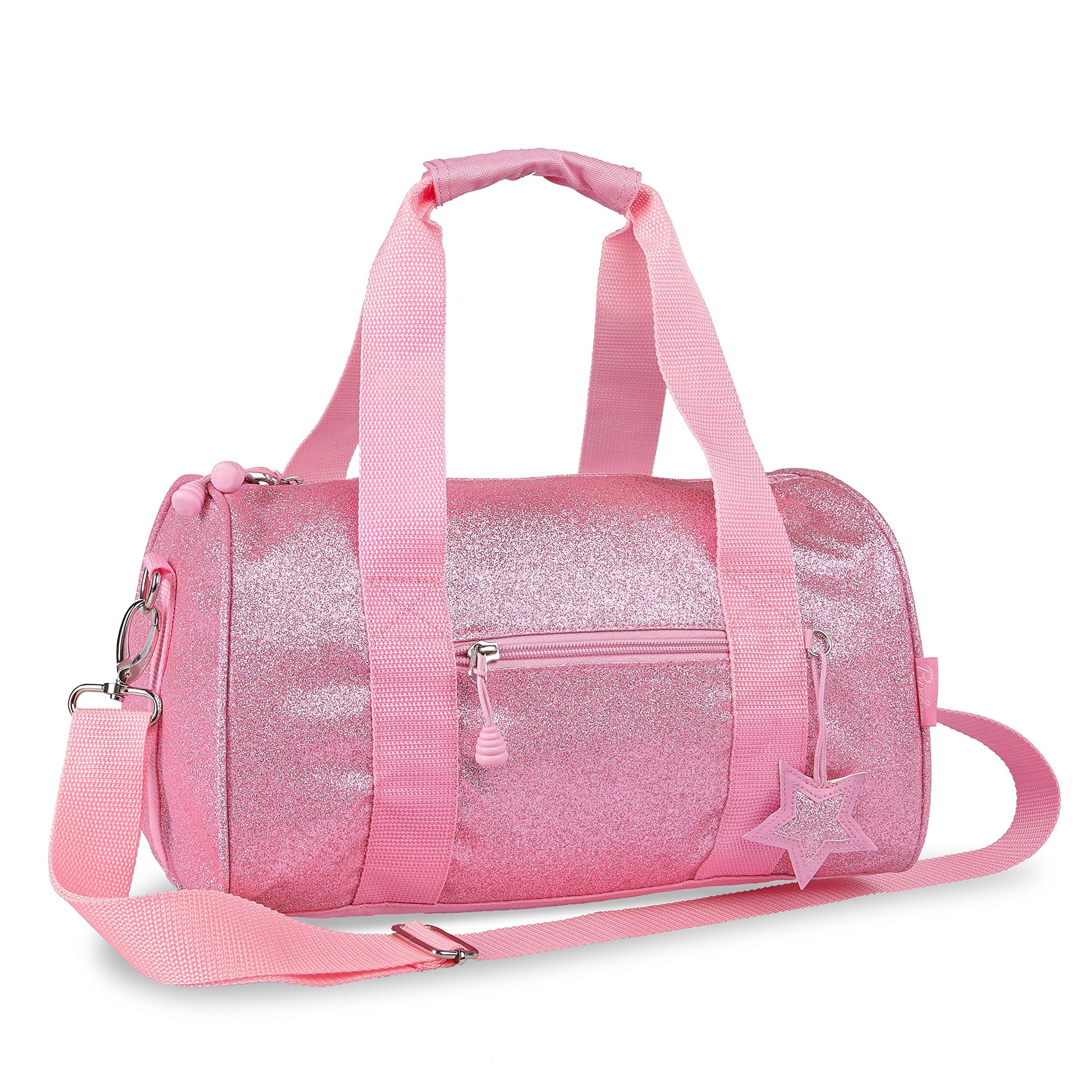Bixbee Medium Sparkalicious Glitter Duffel, Pink School Bag