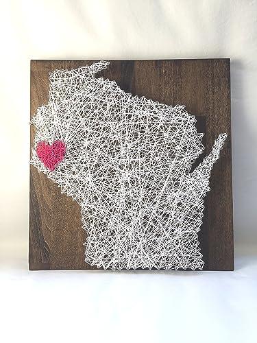 Amazon Wisconsin Heart String Art 12 X 12 Nail And White