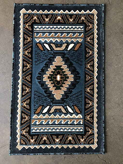 Amazon Com Southwest Native American Indian Door Mat Area Rug Blue