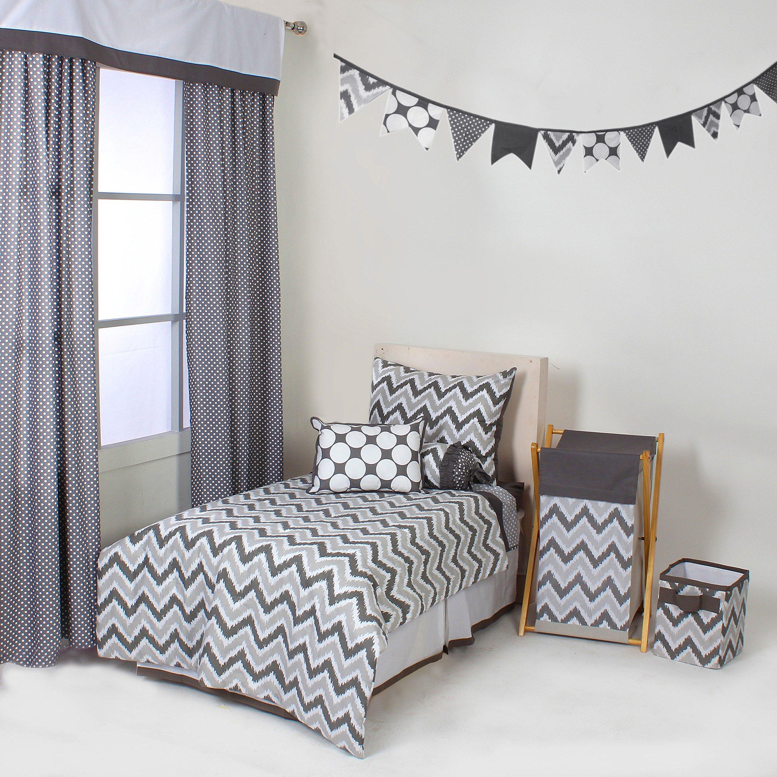 Bacati Mix and Match 4 Piece Toddler Bedding Set, Grey