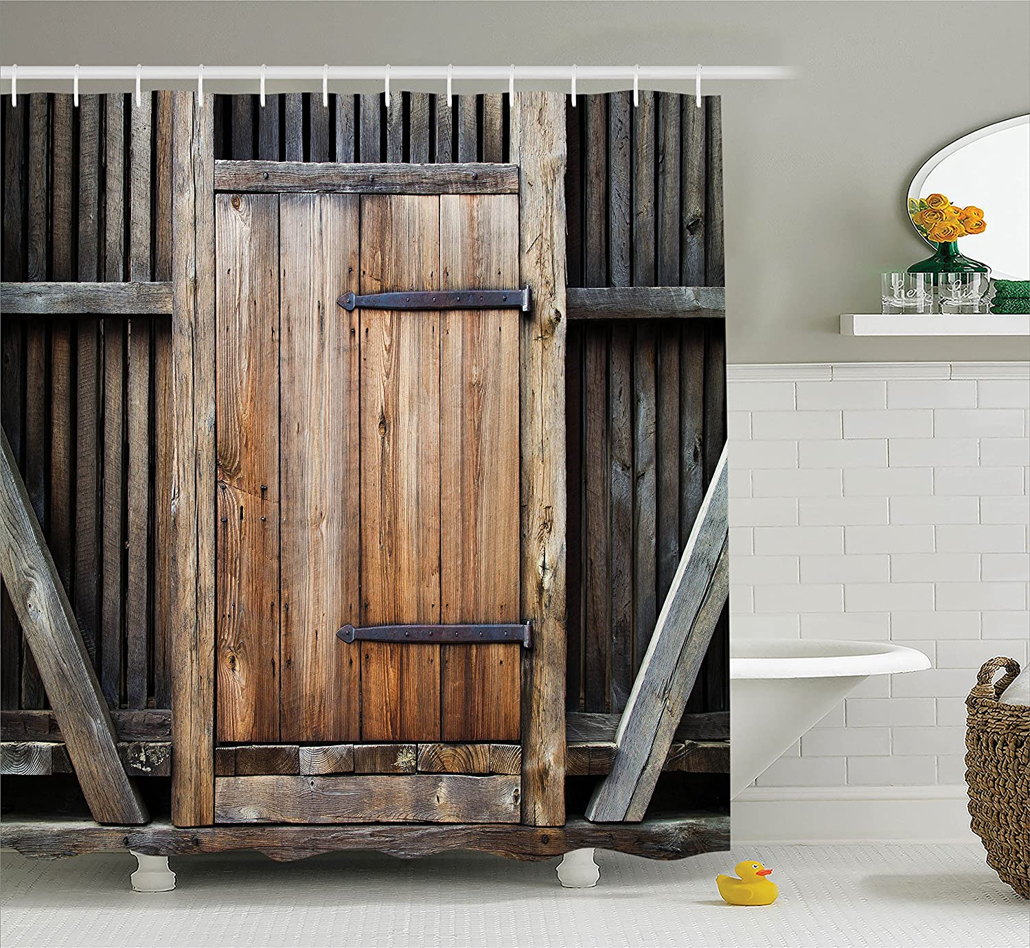 Ambesonne Farmhouse Shower Curtain Brown Decor by, Rustic Antique Wooden Door Exterior Facade Rural Barn Timber Weathered Lodge Picture, Fabric Bathroom Set with Hooks, 69W x 70L Inches, Wood Brown