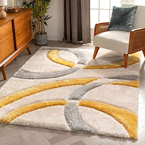 Well Woven Olly Yellow Geometric Stripes Thick Soft Plush 3d Textured Shag Area Rug 4x6 3 11 X 5 3 Home Kitchen