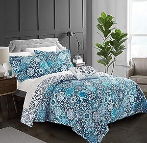 Chic Home Angel 4 Piece Reversible Quilt Cover Set 100% Cotton Bohemian Geometric Print, Queen Blue