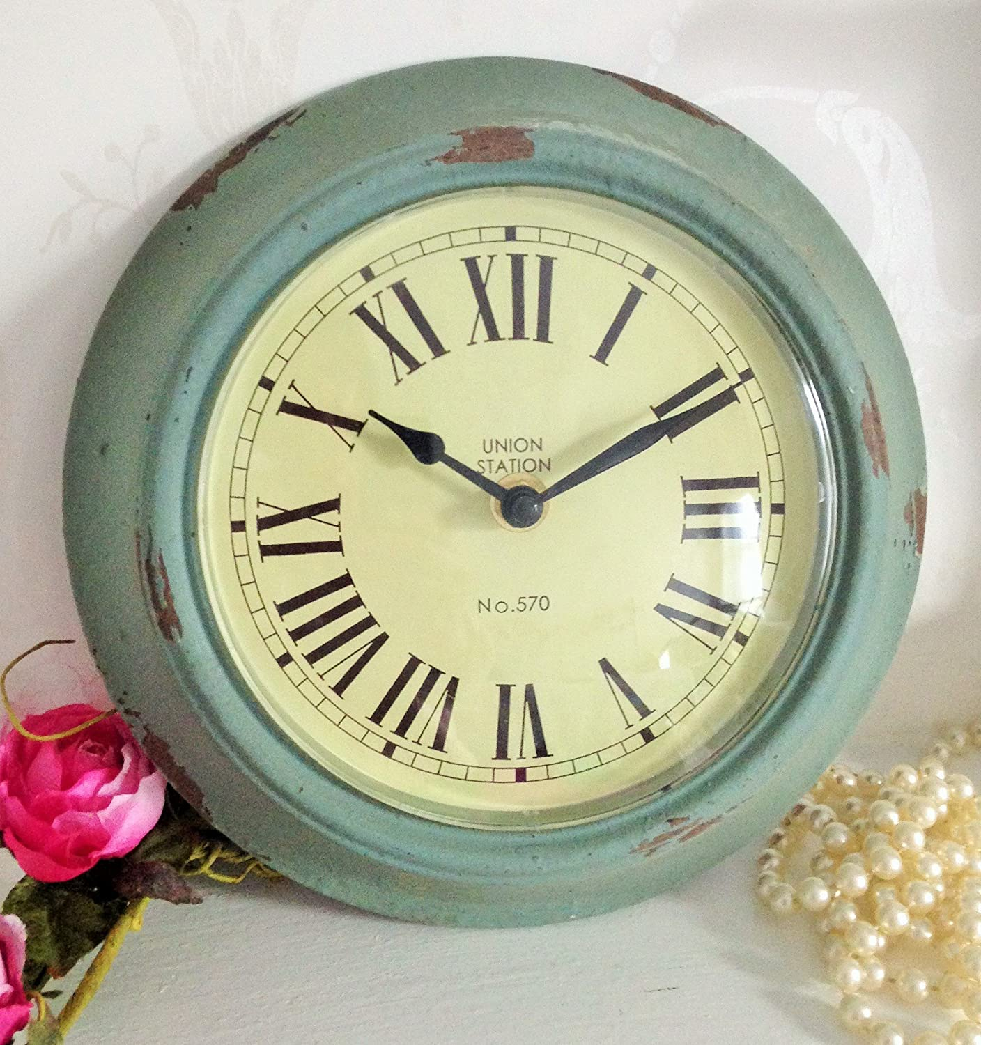 Distressed duck egg blue wall clock amazon kitchen home amipublicfo Image collections