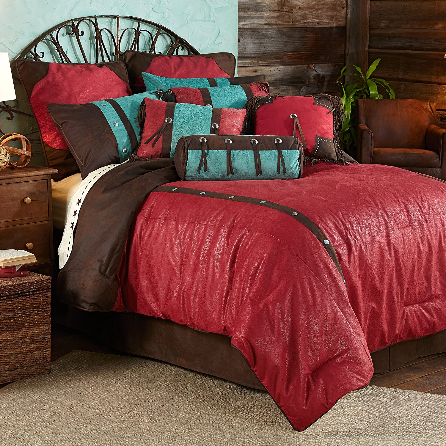 HiEnd Accents Red Cheyenne Western Comforter Set, Super Queen