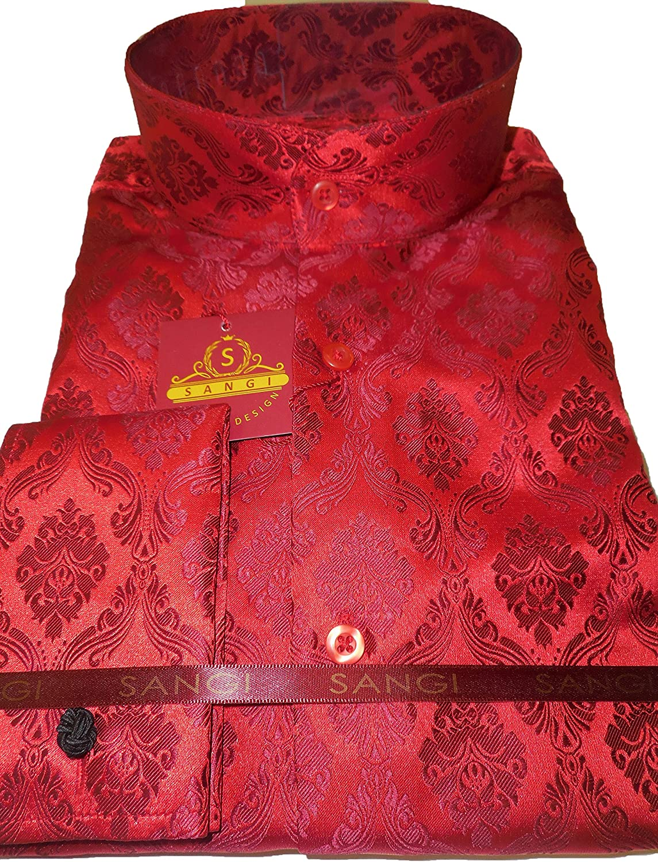 SANGI 1024 Mens Light Pink Ornate Royalty High Collar French Cuff Shirt