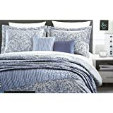 Cynthia Rowley Bedding 3 Piece Full / Queen Duvet Cover Set Ornate Geometric Floral Pattern in Shades of Blue White Gray on Tan