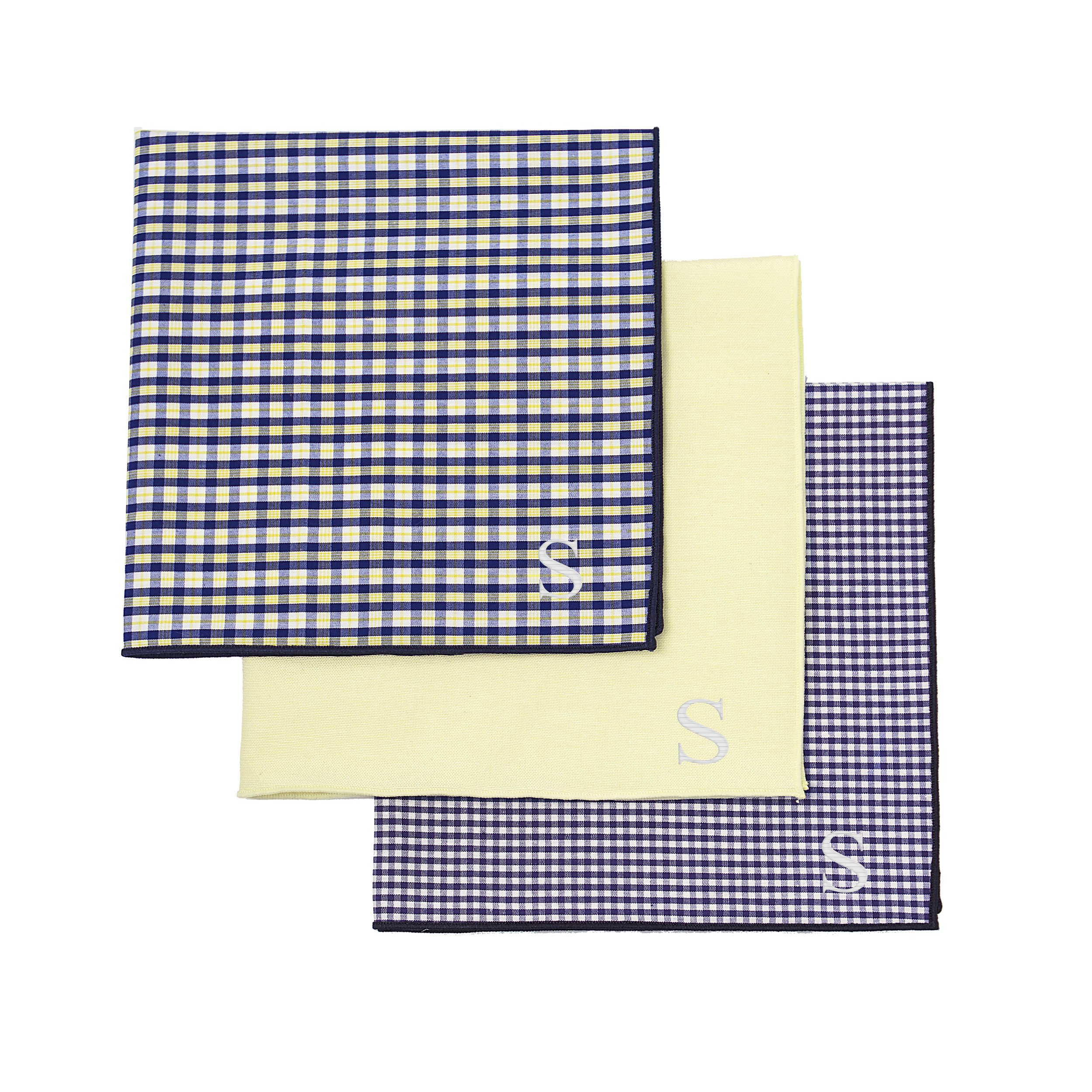 Cathy's Concepts Personalized Gingham Handkerchief Set, Yellow/Navy, Letter S