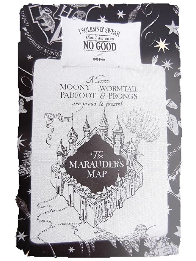 Primark Home Harry Potter - Conjunto de funda edredón y almohada para cama individua, matrimonio, King, blanco y negro, Single 135CM X 200CM + 1 Pillowcase: ...