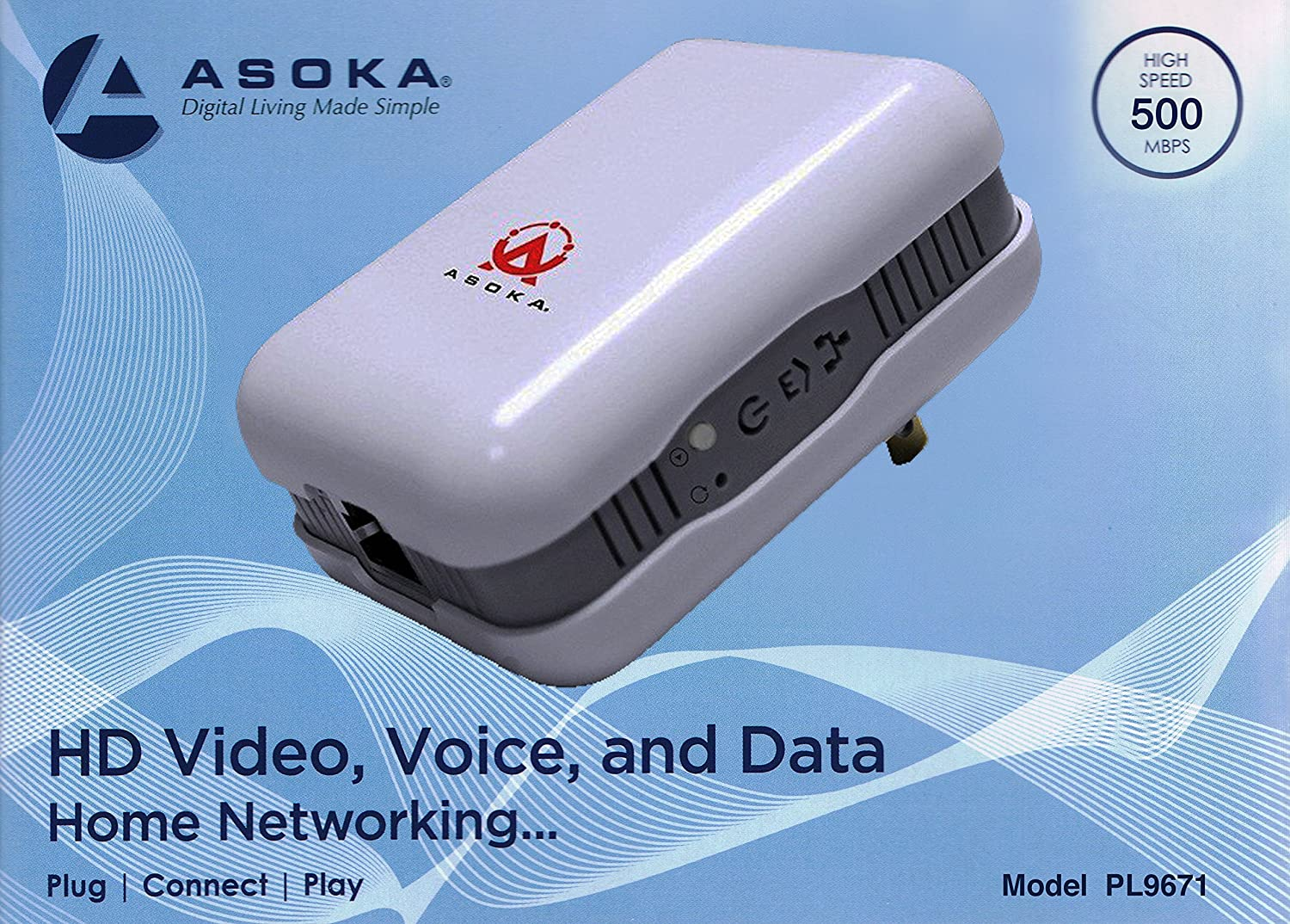 Asoka Pluglink Eth 500 Mbps Homeplug Powerline Ethernet Adapters An Alternative To Cable Wireless Adapter Computers Accessories