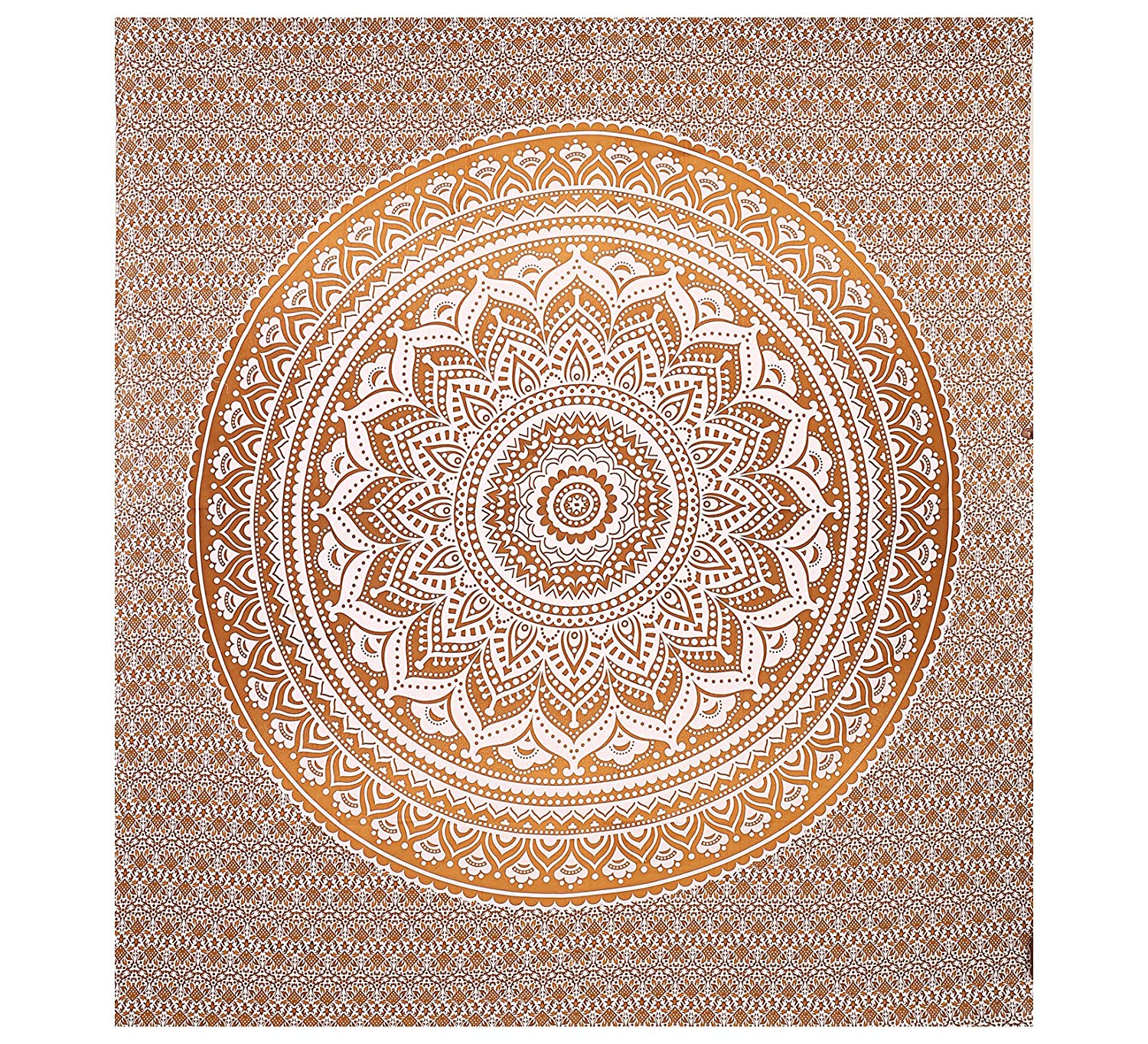 Gokul Handloom Popular Designs Gold Ombre Tapestry Indian Mandala Wall Art Hippie Wall Hanging Bohemian Bedspread Tapestries 90x84 inches