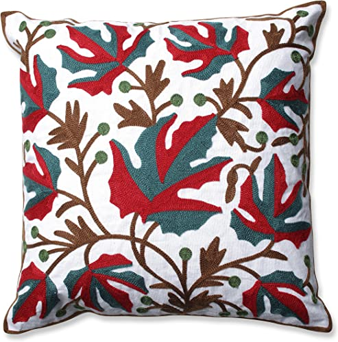 Pillow Perfect Leaves Embroidered Throw Pillow, 18-Inch, Red