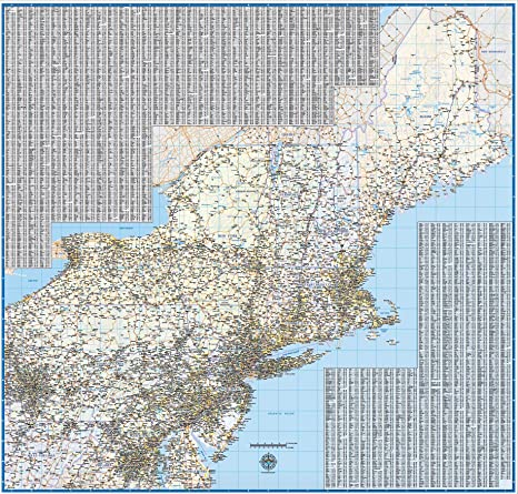 Amazon.com : Northeast US Laminated Wall Map (62\