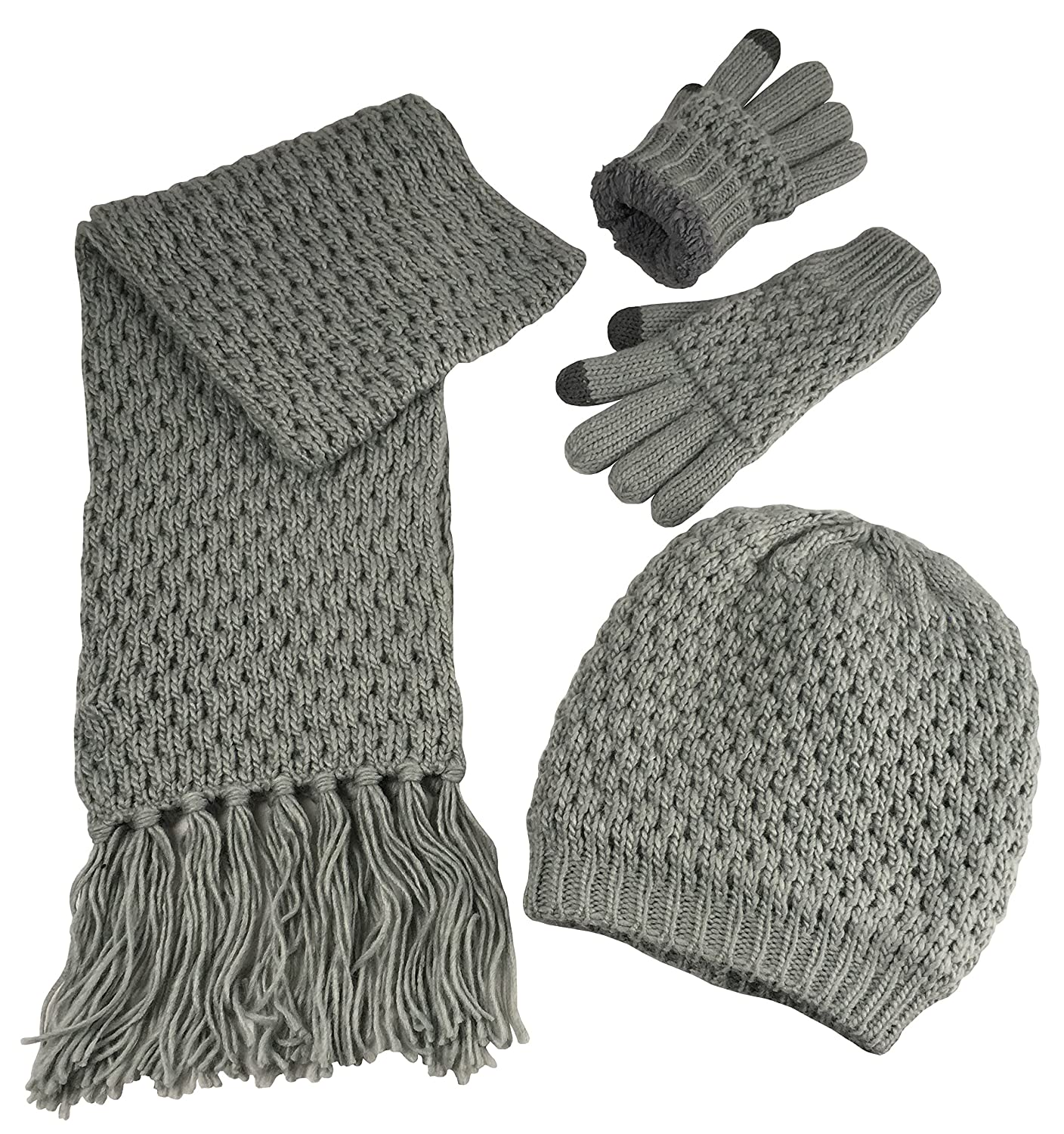 4d19eec2509 N Ice Caps Women s Beanie Scarf Gloves 3PC Set Sherpa Lined Popcorn Stitch  at Amazon Women s Clothing store