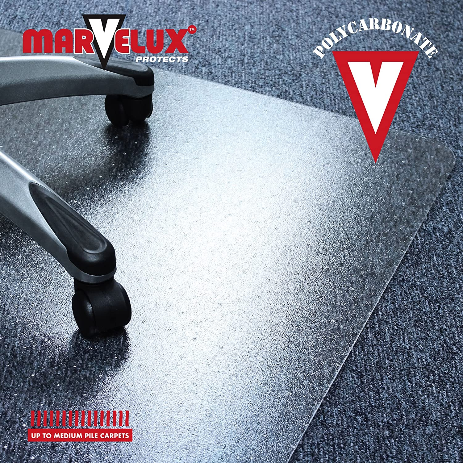 "Marvelux 36/"" x 48/"" Heavy Duty Polycarbonate Office Chair Mat for Low"