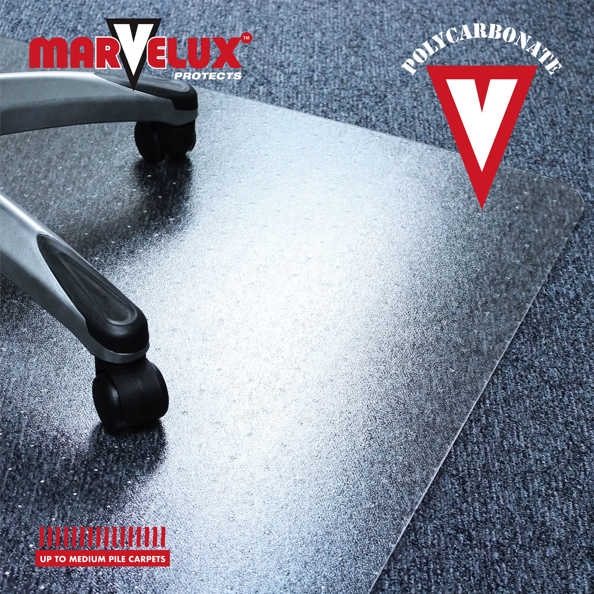 Marvelux 36'' x 48'' Heavy Duty Polycarbonate (PC) Lipped Chair Mat for Low, Standard and Medium Pile Carpets | Transparent Carpet Protector | Pack of 2 by Marvelux (Image #6)