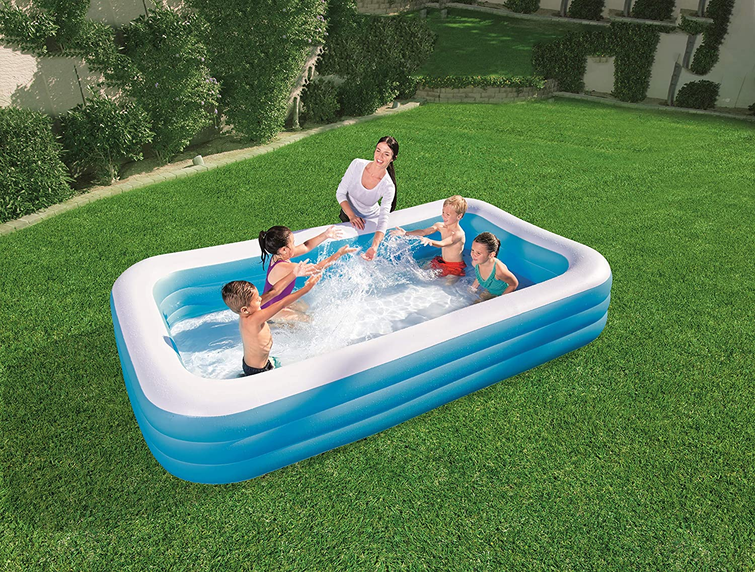 Bestway 54009 - Piscina Hinchable Infantil Rectangular 305x183x56 cm: Bestway 120 x 72 x 22-inches Deluxe Family Pool: Amazon.es: Deportes y aire libre