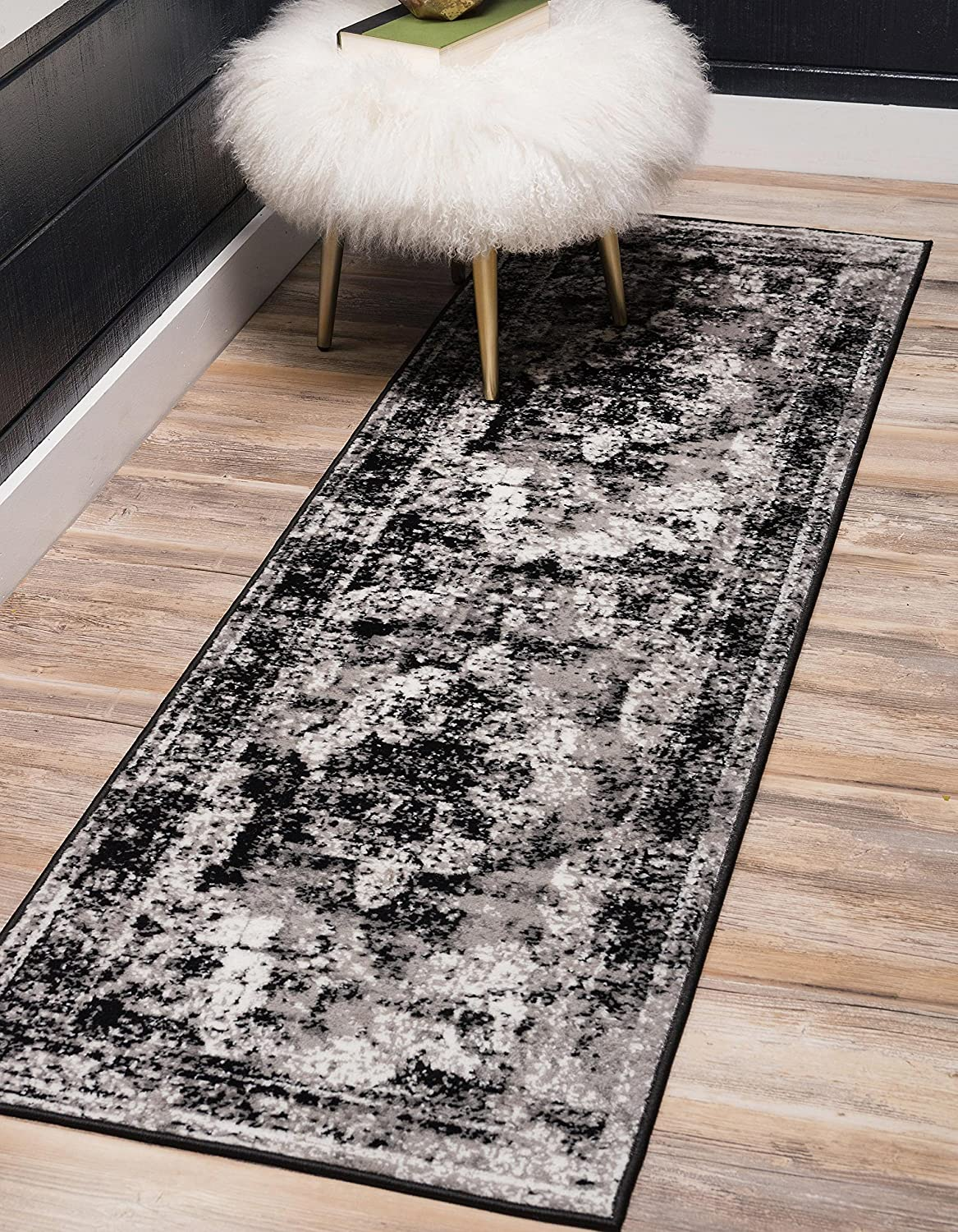 Unique Loom Sofia Collection Traditional Vintage Black Runner Rug (2' x 10')